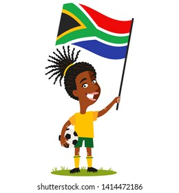 Women's football, female player for South Africa, cartoon woman holding South African flag wearing yellow shirt and green shorts isolated on white background
