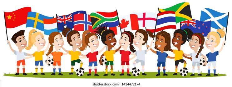 Women's football, group of female players, cartoon women holding national flags isolated on white background, England, Canada, Netherlands, Sweden, China, Australia, New Zealand, Scotland, Norway