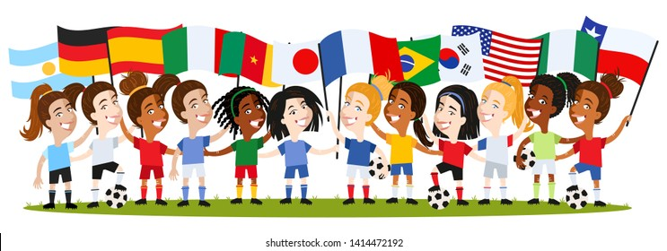 Women's football, group of female players, cartoon women holding national flags isolated on white background, Germany, Argentina, France, Spain, Brazil, USA, Japan, Korea, Nigeria, Cameroon, Chile