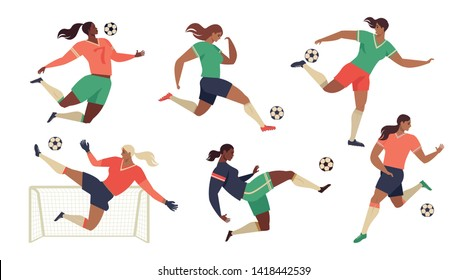 Women's Football soccer players cheerleaders fans set of isolated human figures with merch marks of favourite team vector illustration.