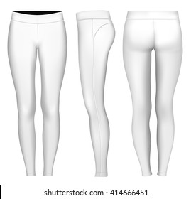 Women's full length compression tights.  Fully editable handmade mesh. Vector illustration.