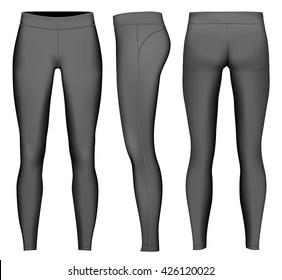 Women's full length compression tights. Black variant. Fully editable handmade mesh. Vector illustration.