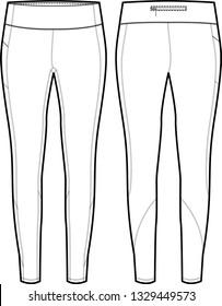 Womens Full Length Legging Vector Template