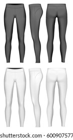 Women's full length leggings. Vector illustration. Leggings black and white variants.