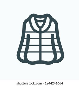 Women's fur coat icon, winter clothes vector icon