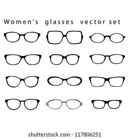Women`s glasses vector set.