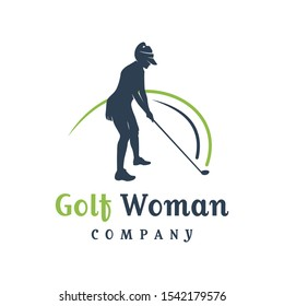 women's golf sports logo design
