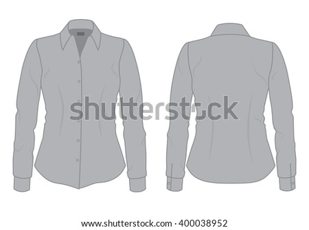 Womens Gray Shirt With Long Sleeves Template Front And Back View