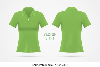 b11a7e5982 Women s green vector polo shirt template isolated on background. Women s  classic green shirt realistic mockup