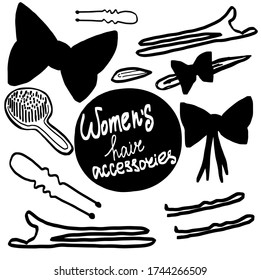 Women's hair accessorize. Vector illustration of female things for hair favorite female things. Vector illustration on white background. For cards, posters, decor it can be used as a print for t-shirt