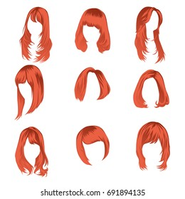 Women's hair vector set