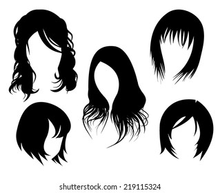 women's hairstyle black isolated on white background