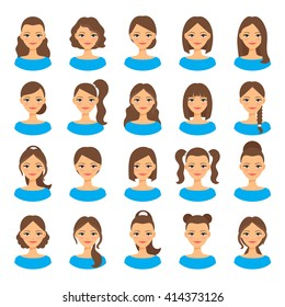 Womens hairstyles. Beautiful young woman with various hair styles vector illustration