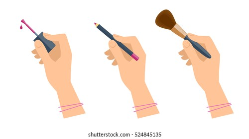 Women's hands with cosmetic accessories: lip pen, eyeshadow brush, nail polish. Flat illustration of female hands with cosmetical tools. Vector isolated on white background design elements.