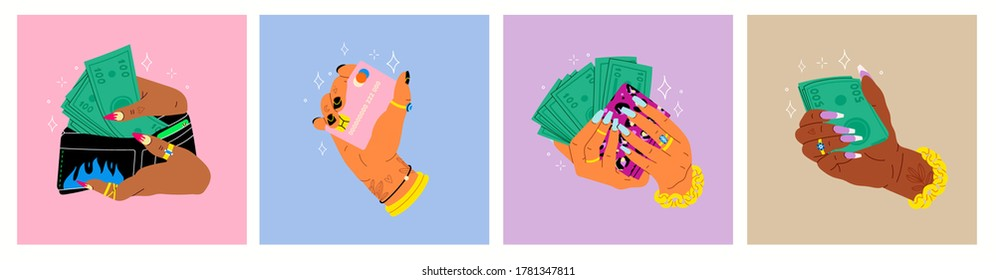 Women's hands with green Money and credit card. Cool manicure, rings and golden chain. Cash in hand. Close up look. Cartoon style. Hand drawn Vector set. Every illustration is isolated
