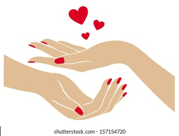 Women's hands with hearts, logo design