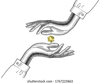 Women's hands hold a precious stone. A woman with a Diamond in her hand. Perfection, well-being, prosperity. Vintage engraving stylized drawing. Vector illustration
