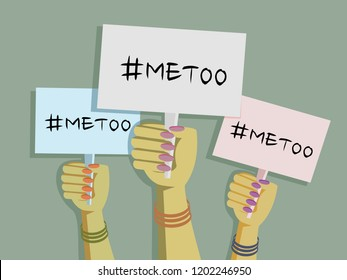 Women's hands wearing bangles hold  'Me Too' placards