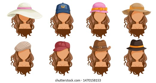 womens hats set. Collection of women's head.  Userpics of hair style different female. Variety and different types of fashion. Vector illustration.
