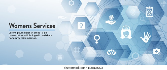 Women's Health Services Icon Set Web Header Banner with Abstract Design OBGYN or Salon Set