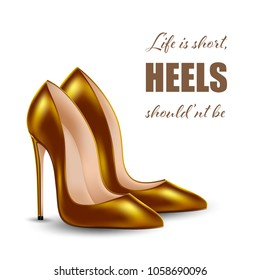 Womens high heel shoes, isolated on white background. Sale banner template. Vector Illustration