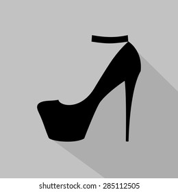 Women's high-heeled shoe monochrome icon. Vector illustration