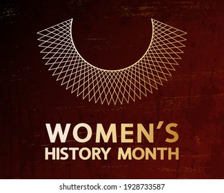 Women's History Month gold vector concept. Gradient lettering and lace collar on grunge texture.