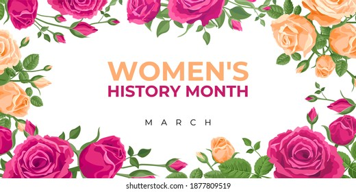 Women's History Month. Vector banner, poster, flyer, greeting card for social media with the text Women s History Month, march. Beautiful roses on white background