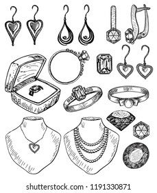 Women's jewelry set, sketch. Bijouterie set vector ink hand drawn illustration isolated on white background. Ring, necklace, earrings, pendant, sketch jewelry collection.