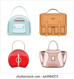 Women`s leather handbag and purses collection. Female bags isolated on white background. Realistic flat style, vector illustration