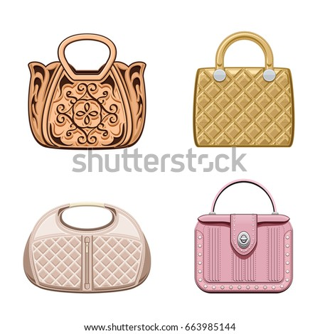 Women`s leather handbags collection. Female trendy purses isolated on white  background. Realistic c4e17cc14