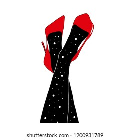 Women's legs in red shoes. Space illustration.Symbol philosophy, astrology, magiс.