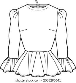 women's long sleeve peplum top fashion flat sketch vector illustration