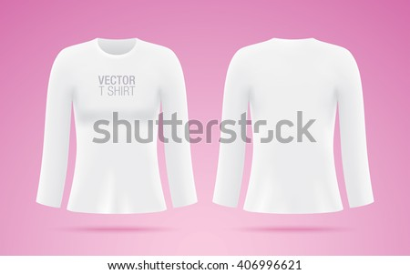 womens long sleeve vector tshirt white stock vector royalty free