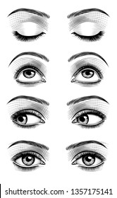 Women's luxurious eyes with perfect eyebrowes and full lashes. Vintage engraving stylized drawing. Vector illustration