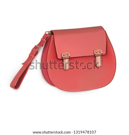 664eda38 Women's mini handbag, clutch, purse with short handle. Beige colour. Vector  image isolated on white background. - Vector