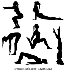 Women's movement. Girls are making exercises. Fitness silhouettes, yoga - vector set