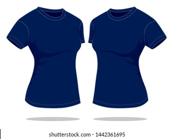 Women's Navy Blue T-Shirt for Template : Perspective View
