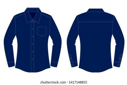 Women's Navy Blue Uniform Shirt  : Long Sleeve