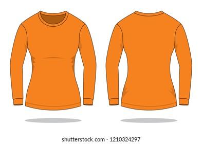0563289e92f8 Women s Orange Long Sleeve T-Shirt   Round Neck