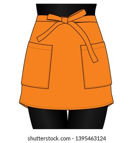 Women's Orange Short Apron Vector  for Template