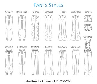 Women's  pants  collection, vector sketch illustration. Different styles of jeans, shorts, overalls, sweat pants, business formal pants, loose pants and leggings, isolated on white background.