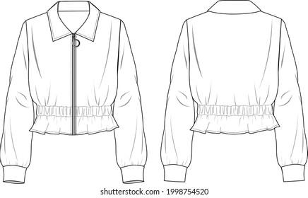 Women's Peplum Hem Soft Jacket- Jacket technical fashion illustration. Flat apparel jacket template front and back, white colour. Unisex CAD mock-up.