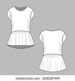 Womens peplum t shirt top gathering ruffles hem  short sleeve round neck cad mockup fashion flat sketch drawing template design vector