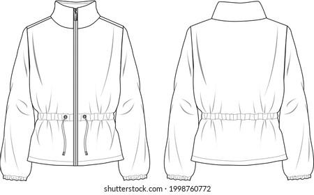Women's Peplum-Hem Soft Jacket- Jacket technical fashion illustration. Flat apparel jacket template front and back, white colour. Unisex CAD mock-up.
