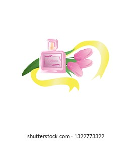 Women's perfume and pink tulips Vector