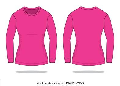 0c2c5430ebf19 Women s Pink Long Sleeve T-Shirt   Round Neck