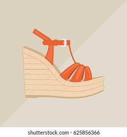20cb01882 Women's platform sandal vector. Flat icon isolated on background.