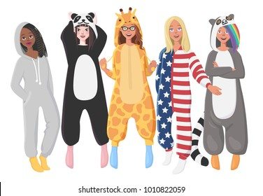 Women's Plush One-Piece Pajamas. Hooded Onesie Giraffe, Panda, American Flag, Lemur. Onesies for Women. Girls in Pajamas, Nightwear, Loungewear.