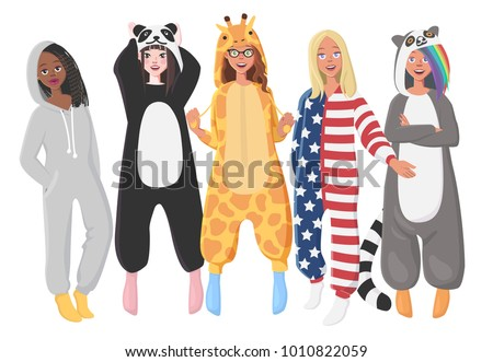 caf1cbc192 Womens Plush One Piece Pajamas Hooded Onesie Stock Vector (Royalty ...